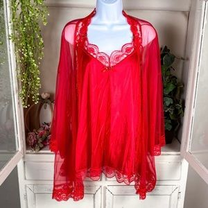Red Vintage Satin And Lace Peignoir Set